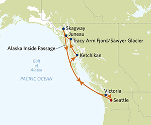 Map of Alaska Tracy Arm Fjord Cruise from Seattle