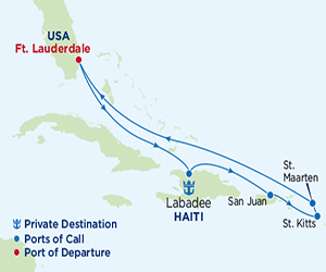Map of Eastern Caribbean Cruise from Fort Lauderdale