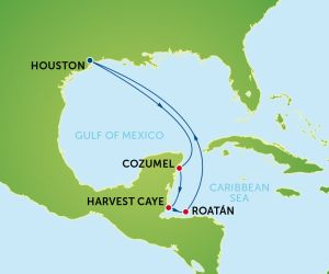 Map of Western Caribbean Cruise