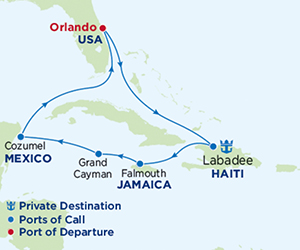 Map of Western Caribbean Cruise from Port Canaveral
