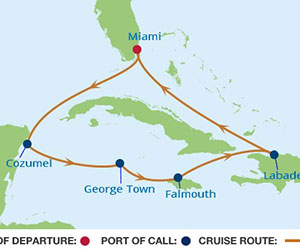 Map of Western Caribbean Cruise from Miami, Florida