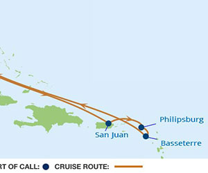 Map of Eastern Caribbean Cruise from Miami
