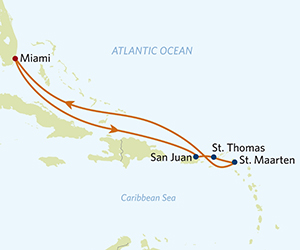 Map of Eastern Caribbean Cruise on Celebrity Reflection