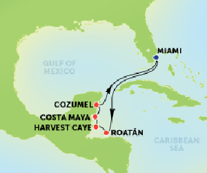 Map of Western Caribbean Cruise from Miami