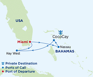 Map of Bahamas Cruise from Miami