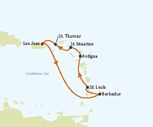 Map of Southern Caribbean Cruise from San Juan