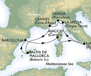 Map of Classic Italian Cruise from Barcelona