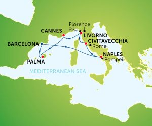 Map of Western Mediterranean Cruise