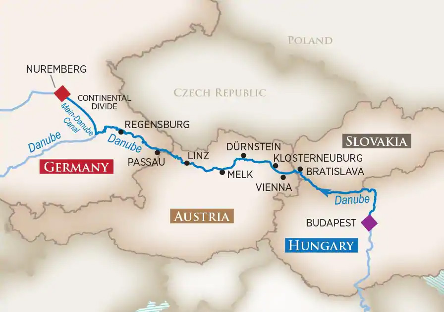 Map of Blue Danube Discovery