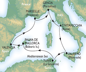 Map of Western Mediterranean Cruise with MSC