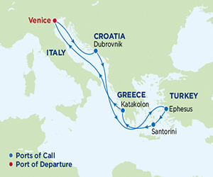 Map of Greece & Turkey Cruise from Venice