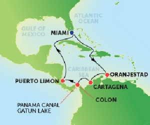 Map of Panama Canal Cruise from Miami