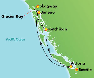 Map of Glacier Bay Cruise from Seattle, USA