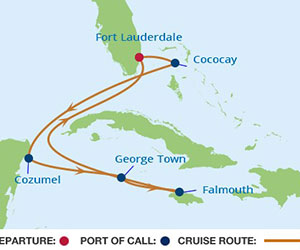 Map of Mexico & Grand Cayman Cruise from Fort Lauderdale