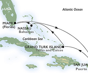 Map of Puerto Rico & Bahamas Cruise from Miami