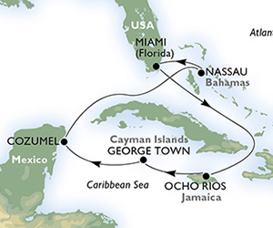 Map of Jamaica & Bahamas Cruise from Miami