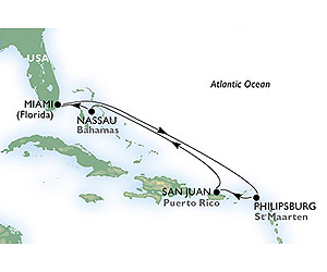 Map of Miami & Bahamas Cruise from Miami