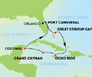 Map of Jamaica & Mexico Cruise