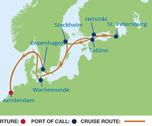 Map of Baltics Cruise from Amsterdam