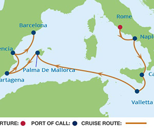 Map of Rome to Barcelona Cruise
