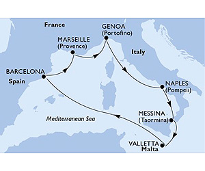 Map of Italian Mediterranean Cruise from Barcelona