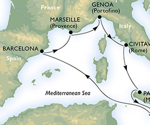 Map of Mediterranean Cruise from Barcelona