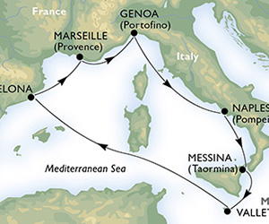 Map of Italian Cruise from Barcelona