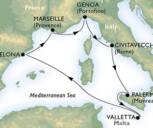 Map of Spain & Italy Cruise from Barcelona