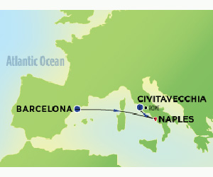 Map of Short Taster Cruise from Barcelona