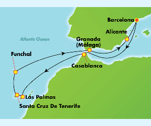 Map of Morocco & Spain Cruise From Barcelona