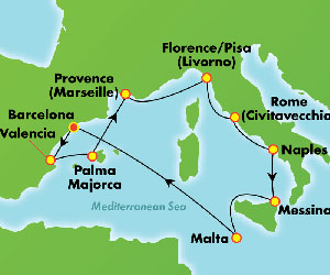 Map of Winter Cruise from Spain