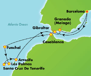 Map of Winter Cruise from Barcelona