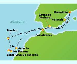 Map of Christmas Spain & Morocco Cruise
