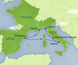 Map of Disney Italy & France Cruise
