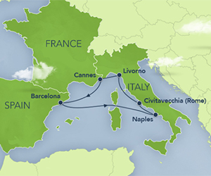 Map of Disney Mediterranean Cruise from Barcelona
