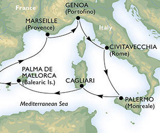 Map of Western Mediterranean Cruise from Rome
