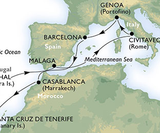 Map of Italy & Morocco Cruise from Rome