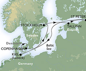 Map of Baltic Capitals Cruise from Copenhagen