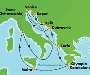 Map of Croatia & Slovenia Cruise from Rome