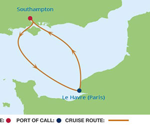 Map of Taste of Luxury Cruise from Southampton