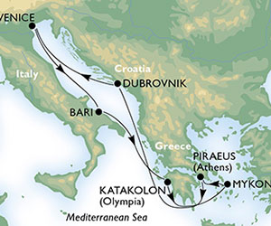 Map of Italy & Greece Cruise from Venice