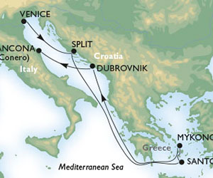 Map of Greek Isles Cruise from Venice, Italy