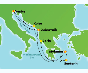 Map of Montenegro & Greece Cruise from Venice