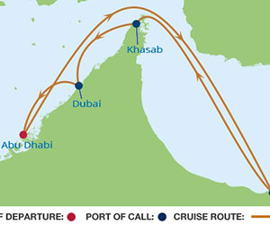 Map of Abu Dhabi & Dubai Cruise from Adu Dhabi