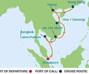Map of Singapore to Hong Kong Cruise from Singapore