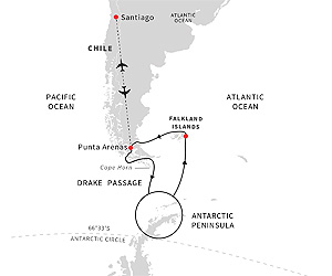 Map of Antarctica, The Falklands & Chilean Fjords Expedition