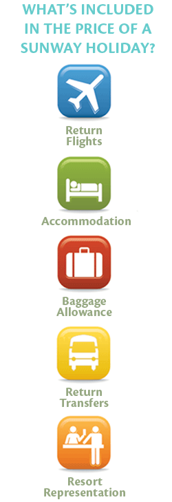 What's Included in the price of a Sunway holiday?: Return Flights; Accommodation; Baggage Allowance; Return Transfers & Resort Representation