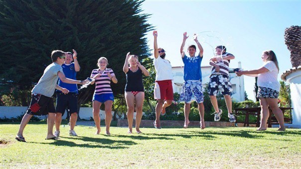 Teenagers game on holiday in club